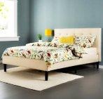史低!$178.99包邮 Zinus 经典布艺带床靠床架Queen