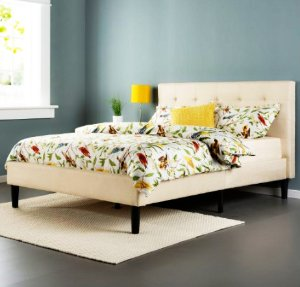 Lowest price! $178.99 Zinus Upholstered Button Tufted Platform Bed with Wooden Slats, Queen