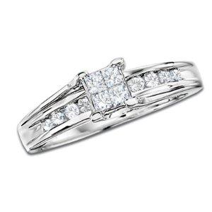1/2 CT. T.W. Quad Princess Diamond Ring in 14K White Gold