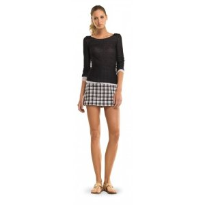 COTTON DOUBLEWEAVE PLAID SKIRT