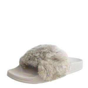 Lust for Life Cruise Rabbit-Fur Slide Sandal