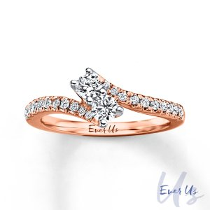 Ever Us 1/2 CT. T.W. Two-Stone Diamond Bypass Ring in 14K Rose Gold - Brilliant Buys - Zales