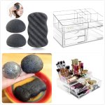 PIXNOR Facial Body Sponges and Makeup Organizer