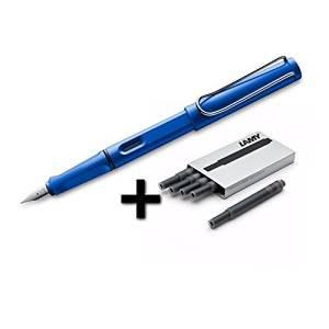 $22.95 Lamy Safari Fountain Pen (14F) Sky Blue + 5 Black Ink Cartridges