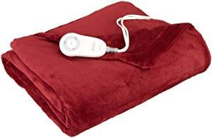 Lighning Deal Sunbeam TSM8US- R310-25B00 Microplush Heated Throw, Garnet