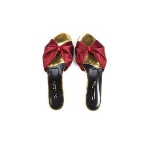 Burgundy Satin & Specchio Mia Slides - Sale