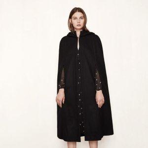 GINETTE Long cape in virgin wool - Coats & Jackets - Maje.com