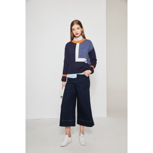 Color Contrast Flare Sleeves Sweater In Navy TP1763