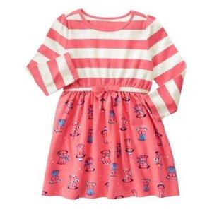 Toddler Girls Coral Stripe Puppy Stripe Dress by Gymboree