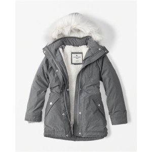 girls sherpa twill parka jacket | girls clearance | Abercrombie.com