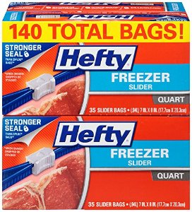 $10.49 Hefty Slider Freezer Bags, Quart, 140 Count