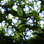 Solar Christmas String Lights,easyDecor 50 LED Flower 23ft White 8Mode Waterproof Decorative Blossom Light