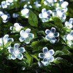 Solar Christmas String Lights,easyDecor 50 LED Flower 23ft White 8Mode Waterproof Decorative Blossom Light