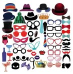 $4.99 PBPBOX Photo Booth Props 59 Piece DIY Kit for Wedding Party Graduation Birthdays Dress-up Accessories