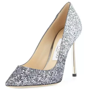 Jimmy Choo Romy Glitter Pointed-Toe 100mm Pump, Navy/Silver