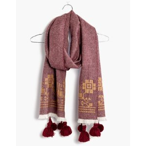 embroidered textile scarf