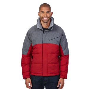 COLOR BLOCK QUILTED DOWN BOMBER JACKET