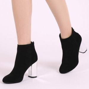 Charis Hexagon Mirror Heel Ankle Boots in Black Faux Suede | Public Desire