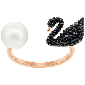 Iconic Swan Ring, Black - Jewelry - Swarovski Online Shop