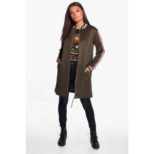 Megan Stripe Bomber Jacket | Boohoo