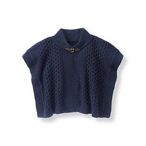 Baby Girl Navy Textured Sweater Cape at JanieandJack