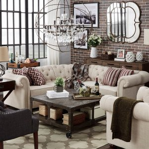 Knightsbridge Tufted Scroll Arm Chesterfield 5-seat L-shaped Sectional by SIGNAL HILLS - Free Shipping Today - Overstock.com - 17755613