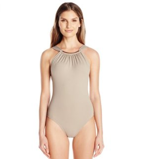 $28.87 Vince Camuto Women's High Neck Maillot One Piece Swimsuit