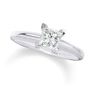 1 CT. Certified Princess-Cut Diamond Solitaire Engagement Ring in 14K White Gold (I/I1)