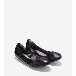 ZEROGRAND Stagedoor Stud Ballet Flats in Black   Cole Haan