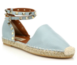 Valentino Rockstud Leather Ankle-Wrap Espadrille Flats