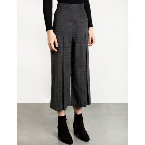 Check Pleated Front Pants