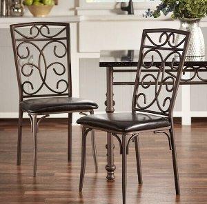 TRIBECCA HOME Zella Bistro Metal Scroll Black Bi-Cast Vinyl Dining Chairs (Set of 4)