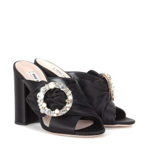 Miu Miu - Crystal-embellished satin sandals