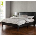 Zinus Deluxe Faux Leather Upholstered Platform Bed with Wooden Slats, Queen