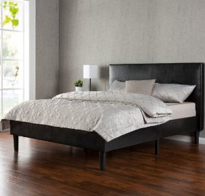 #1 Best seller! $149Zinus Deluxe Faux Leather Upholstered Platform Bed with Wooden Slats, Queen