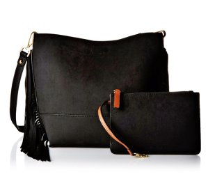 Lowest price!  $68.19 Calvin Klein Novelty Suede Fringe Reversible Blk/Lug Cross Body