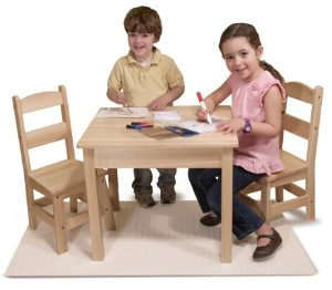 $64.99Melissa & Doug Solid Wood Table and 2 Chairs Set - Light Finish Furniture for Playroom