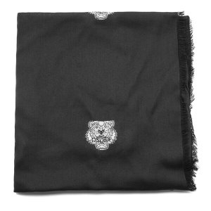 KENZO Women's High End Icons Tiger Heads Fil Coupe Scarf - Black - Free UK Delivery over £50