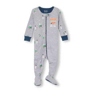 Baby And Toddler Boys Long Sleeve 'Snow Much Fun With Mom' Snowman Split-Print Footed Stretchie | The Children's Place