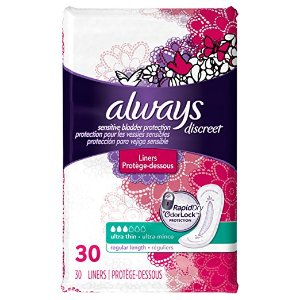 $2.84 Always Discreet, Incontinence Liners, Ultra Thin, Regular Length, 30 Count