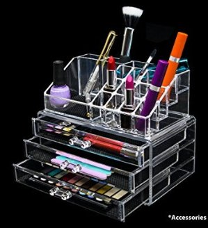 $13.59 Novel Box Ultra Clear Acrylic Cosmetic & Jewelry 2-Piece Storage Organizer