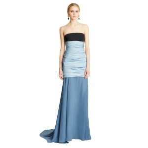 Silk Radzimir Draped Bodice Gown with Georgette Skirt - Sale