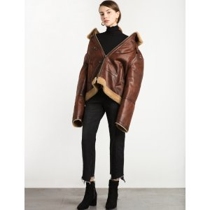 Brown Shearling Oversize Jacket