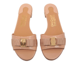 Beige Leather Salvatore Ferragamo Gil Slide With Bow - Shoes US SFES05003360