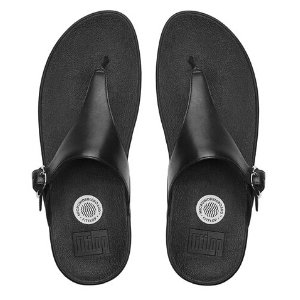 FitFlop The Skinny Leather Flip Flops All Black | Official FitFlop Store