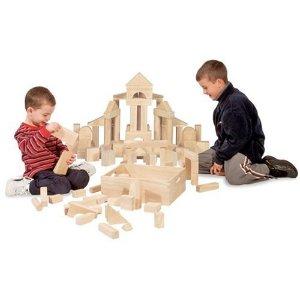 Melissa & Doug Standard Unit Solid-Wood Building Blocks With Wooden Storage Tray (60 pcs): Melissa & Doug: Toys & Games