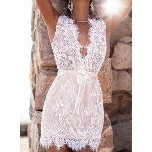 Solid Deep V-Neck Sexy Bodycon Lace Dress