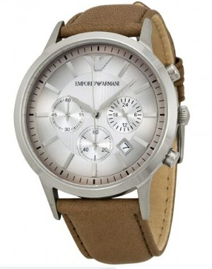 ARMANI Classic Chronograph Textured Degrade Dial Taupe Leather Men's Watch
