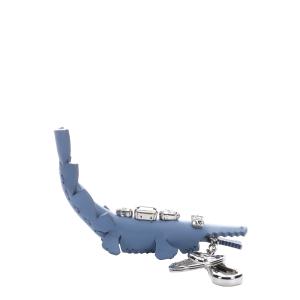 Fendi Blue Crystal Embellished Leather Crocodile Key Chain (384934101) | Bluefly
