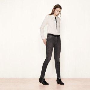PINI Slim jeans with velvet belt - Jeans - Maje.com